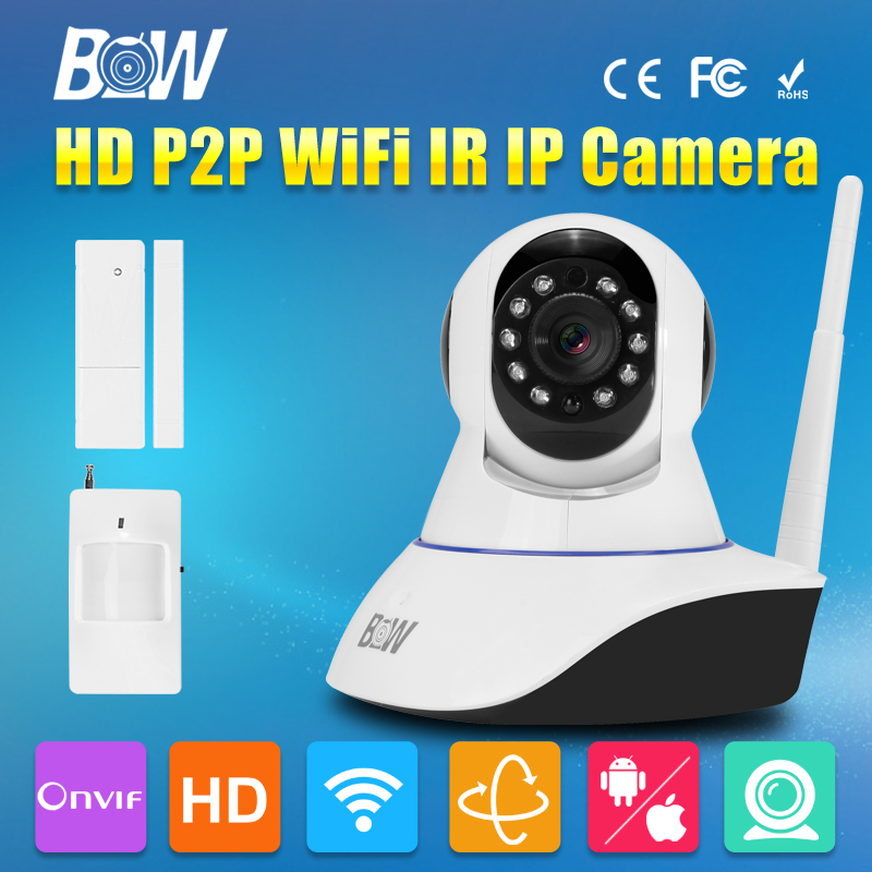 HD 720P Wireless CCTV Wifi Camera IP P/T Surveillance Security Camera Monitor GSM Alarm + Door Sensor + Infrared Motion Sensor bw p2p cctv ip camera wifi wireless hd 720p onvif rotatable surveillance security camera cctv automatic sensor detector alarm