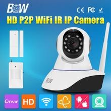 HD 720 P CCTV Wifi Cámara IP Inalámbrica P/T cámara de Vigilancia de Seguridad monitor de la cámara de alarma gsm + sensor de la puerta + infrarrojos motion Sensor