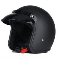 matte black Vintage helmet motorcycle motorbike Capacete Casco open face jet retro scooter helmet Protective DOT 658
