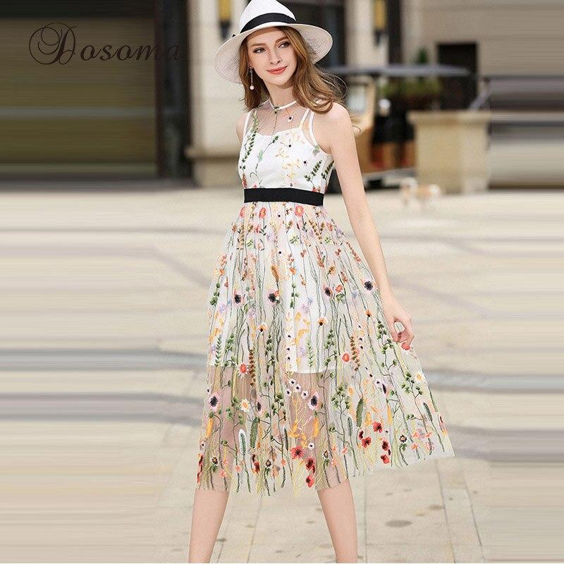 Blumenstickerei spitze mesh dress frauen 2017 blumen bestickt ...