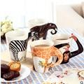 2017 Festival gift Ceramic coffee milk tea mug 3D animal shape Hand painted Deer Giraffe Cow Monkey Dog Cat Camel Elephant cup