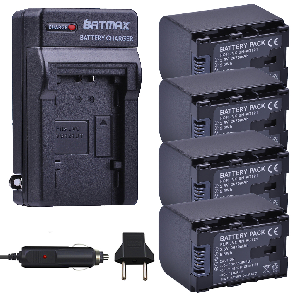 4Pcs 2670mAh BN-VG121,VG121U,VG121US Batteries + Charger Kits for JVC Everio GZ-E Series BN-VG138 BN-VG107U BN-VG114 Camcorders bn bd bn bn