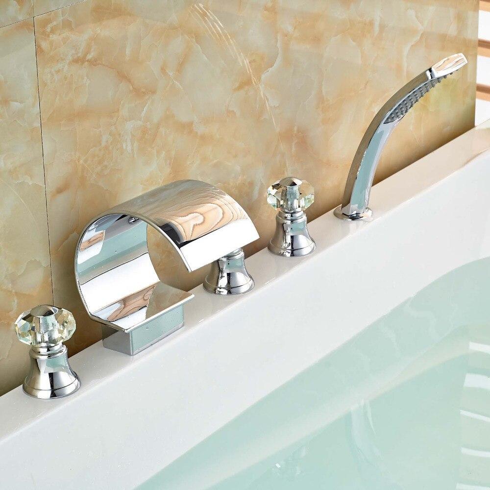 5pcs Bathtub Mixer Faucet Waterfall Bathroom Tub Set Water Taps Chrome Finish