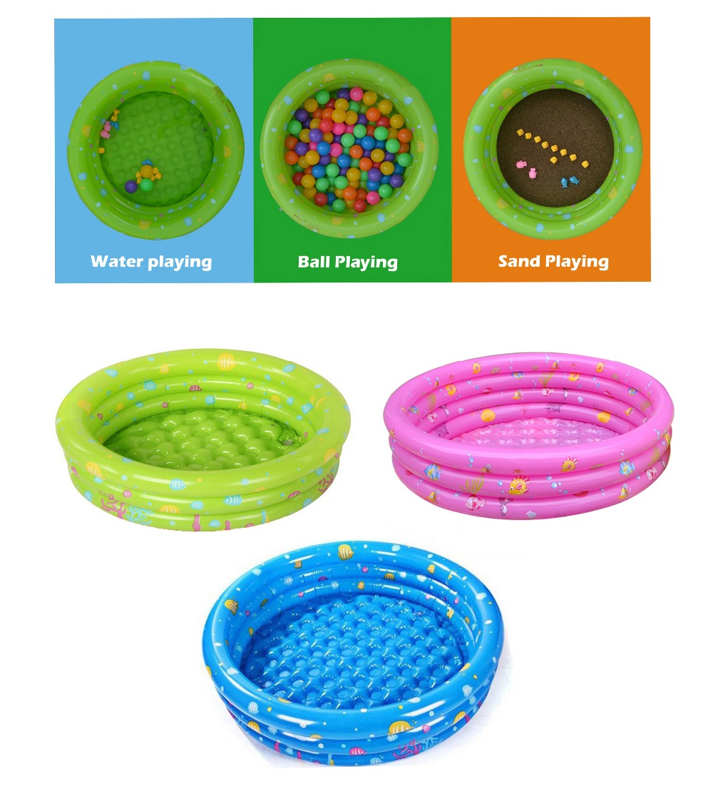 Gratuit shipping.146x38cm 3 Anneau Gonflable d'été Bébé piscine bébé piscine ronde enfants jouer au billard (Vert/Rose/Bleu couleur options)