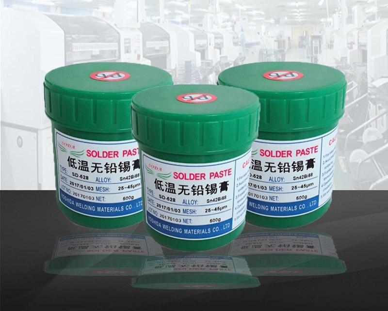 Tools : high quality fresh SD-528 low temperature SMT Lead-free SMT Solder Paste 500g Sn42Bi58 for BGA soldering paste solder SMT