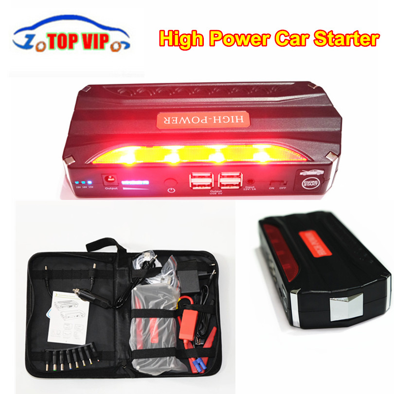 Multifunction AUTO Emergency Car Jump Starter Battery Charger Engine Booster Power Bank For 12V Car Charger 4USB+ SOS Lights цена