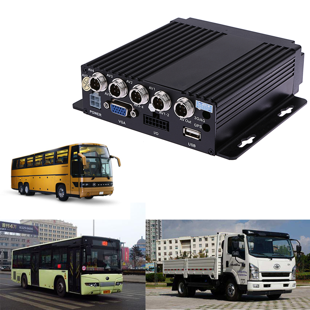SW-0001A Car Bus RV Mobile HD 4CH DVR Realtime Video/Audio Recorder SD VGA DC 12V Support IR Remote Control For Car Truck