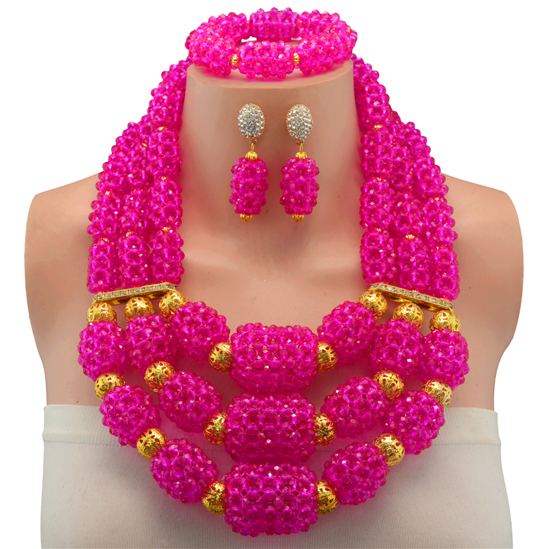 Luxury Coral Beads Bridal Jewelry Sets African Nigerian Wedding Beads for Women Jewelry Set Choker Necklace