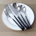 5Pcs/set High Grade Stainless Steel Tableware Cutlery Sets Black Handle Flatware Convenient Cleanup Dinner Spoon Fork Knife