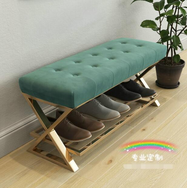 Nordic simple iron art small sofa changing shoes bench bench bed modern end stool low stool shoe shop try shoes chair in Storage Holders Racks from Home Garden