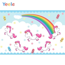 Yeele Unicorns Bedhead Cartoon Rainbow Cloud Clever Photography Backdrops Personalized Photographic Backgrounds For Photo Studio