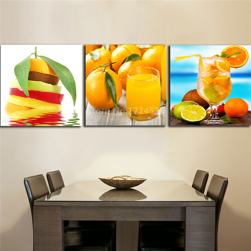 Kitchen Canvas Wall Decor: 3 Panels Drink Juice Orange Paintings For The Kitchen