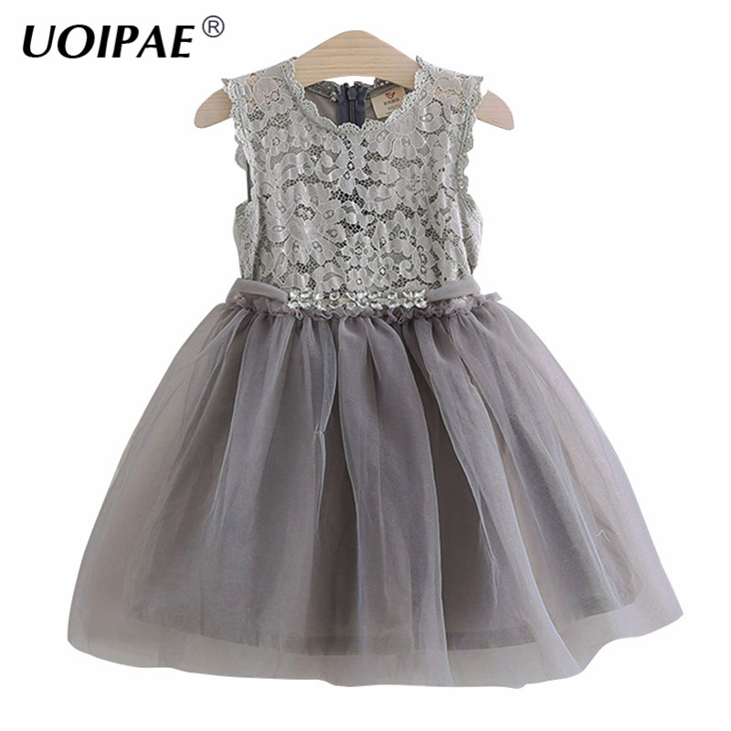 Dress Girl Princess 2018 Spring New Fashion Lace Mesh Children Party Dress Rhinestone Belt Sleeveless Kids Clothes Girls 4754W