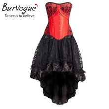 Burvogue Women Steampunk Corsets Dress