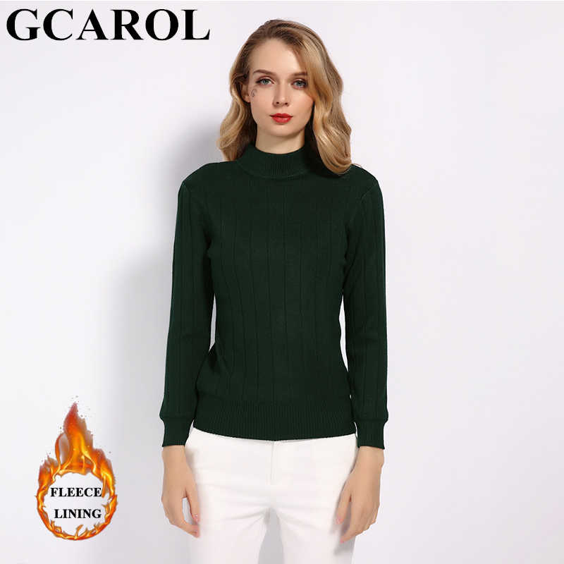 GCAROL 2019 ฤดูใบไม้ร่วงฤดูหนาวผู้หญิงหนาเสื้อกันหนาว Collar ยืดถัก OL Render เสื้อถักเสื้อถัก S-XL