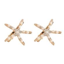 Combs Clips Head-Jewelry Hair-Accessories Starfish Rhinestone Pearl Bridal-Hair Wedding