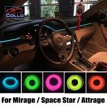 Для Mitsubishi Mirage/Space Star/Attrage/Mirage G4/Украшение автомобиля Холодный Свет Романтическая Атмосфера Лампа/EL Провода 9 М В набор