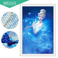 Meian 3D DIY Diamond Embroidery 5D Diamond Painting Diamond Mosaic Girl Needlework Crafts Christmas Decor