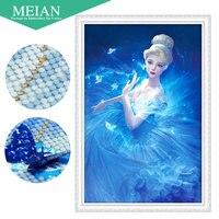 Meian 3D DIY Diamond Embroidery 5D Diamond Painting Diamond Mosaic Girl Needlework Crafts Christmas Decor