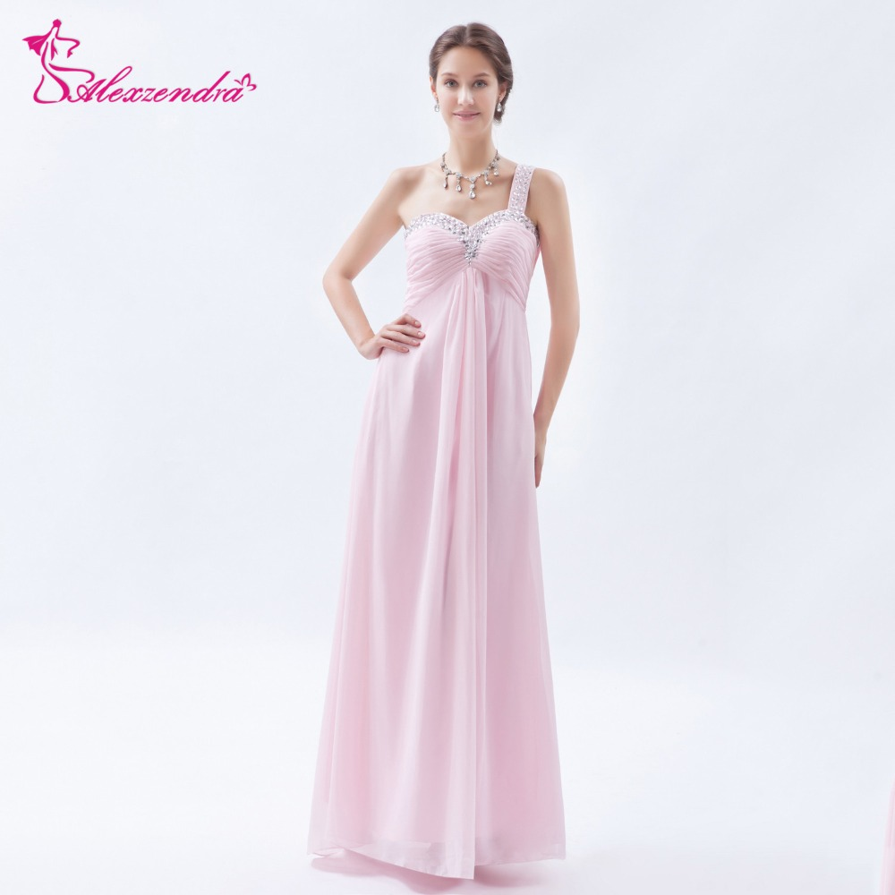 Alexzendra Light Pink Beads Chiffon One Shoulder Long Pregnant Prom Dresses Party Dress Special Party Gowns