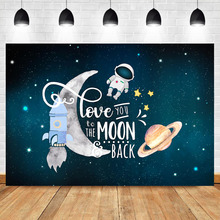 The Scientist Photo Background Cartoon Universe Birthday Backdrop Decoration Supplies Astronaut Theme Children Banner