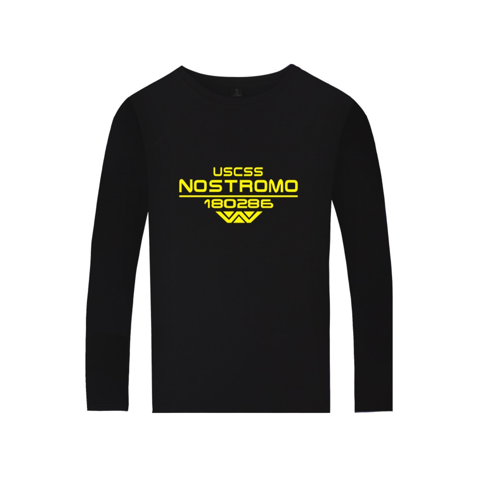 Film Alien Starship Nostromo Tshirt Casual Long Sleeve T-shirt WEYLAND CORP USCSS 180286 Starship Nostromo Print shirts