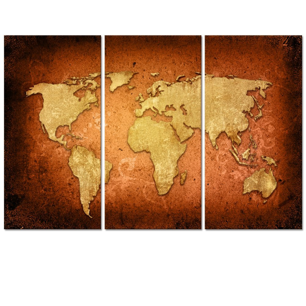 No Frame Diy Large Vintage World Map Canvas Wall Art World Map Painting  Poster Printed On