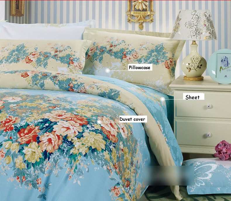 100 Cotton Bedding Sets Vintage Baby Blue Floral Flower