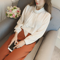 4 Colors 2018 Spring Women Puff Sleeve Stand Collar Ruffles Shirt Top Office Work Ruffle Chiffon