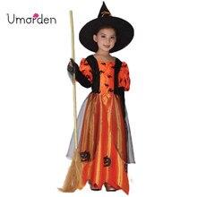 Umorden Halloween Costumes for Girl Girls Children Kids Witch Costume Orange Bat Dress Fancy Fantasia Infantil Cosplay Dresses цена в Москве и Питере