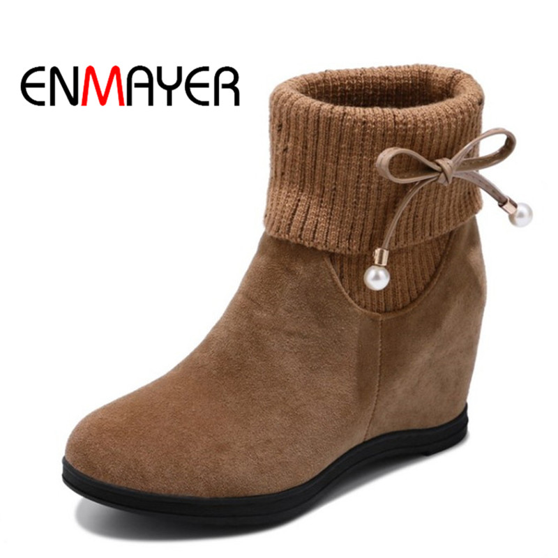 ENMAYER Slip-on Winter Platform Shoes Ankle Boots Round Toe Flock Shoes Woman High Quality Large Size Black Red Shoes for Lady enmayer winter woman boots pointed toe lace up shoes winter warm boots black red 2017 new fashion shoes ankle boots big size