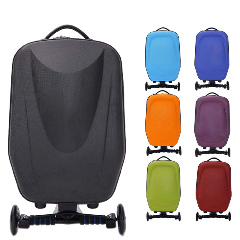 New 21inch Hard-Shell Wheeled Wheels Scooter Luggage Suitcase with Skateboard for Travel Business WML99 6 5 adult electric scooter hoverboard skateboard overboard smart balance skateboard balance board giroskuter or oxboard
