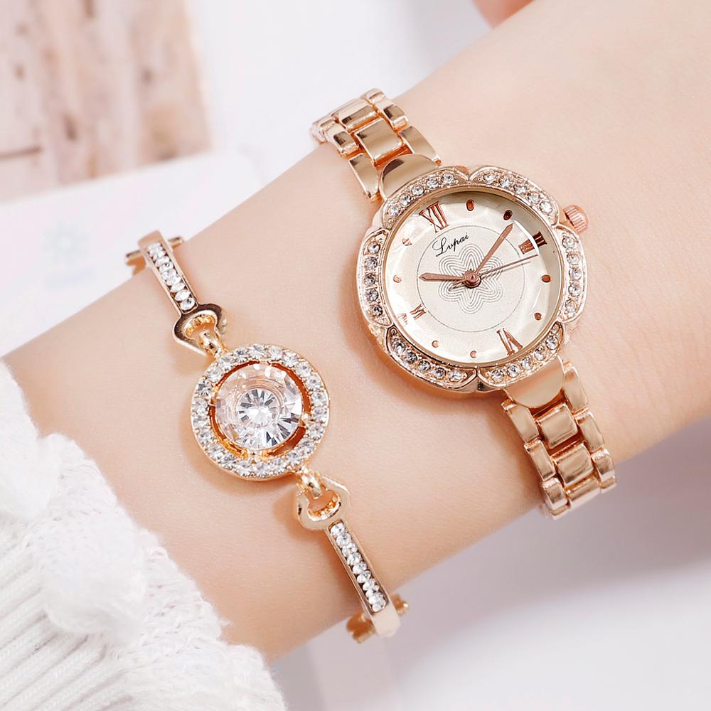 Lvpai Brand Luxury Women Dress Watches Set Fashion Geometric Bangle Bracelet Quartz Clock Ladies Wrist Watch Rose Gold Watches