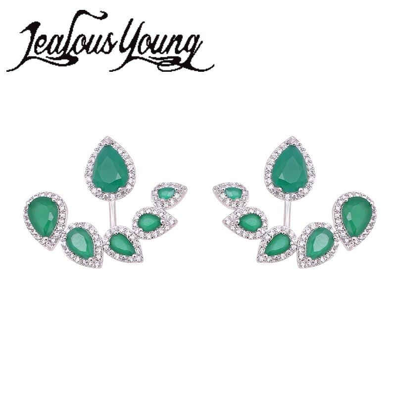 Nový módní zelený list s kamennými náušnice pro ženy Zirkonové kamínky Unikátní design značky náušnice módní šperky WE211