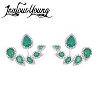 Yeni Moda Yeşil Yaprak Taş Damızlık Küpe Zirkon Kadınlar Için Rhinestones Ile Benzersiz Tasarım Marka Küpe Moda Takı WE211
