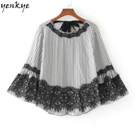 Women Lace Detail Striped Blouse Shirt O Neck Flare Sleeve Back Bow Tie Autumn Blouse Brand
