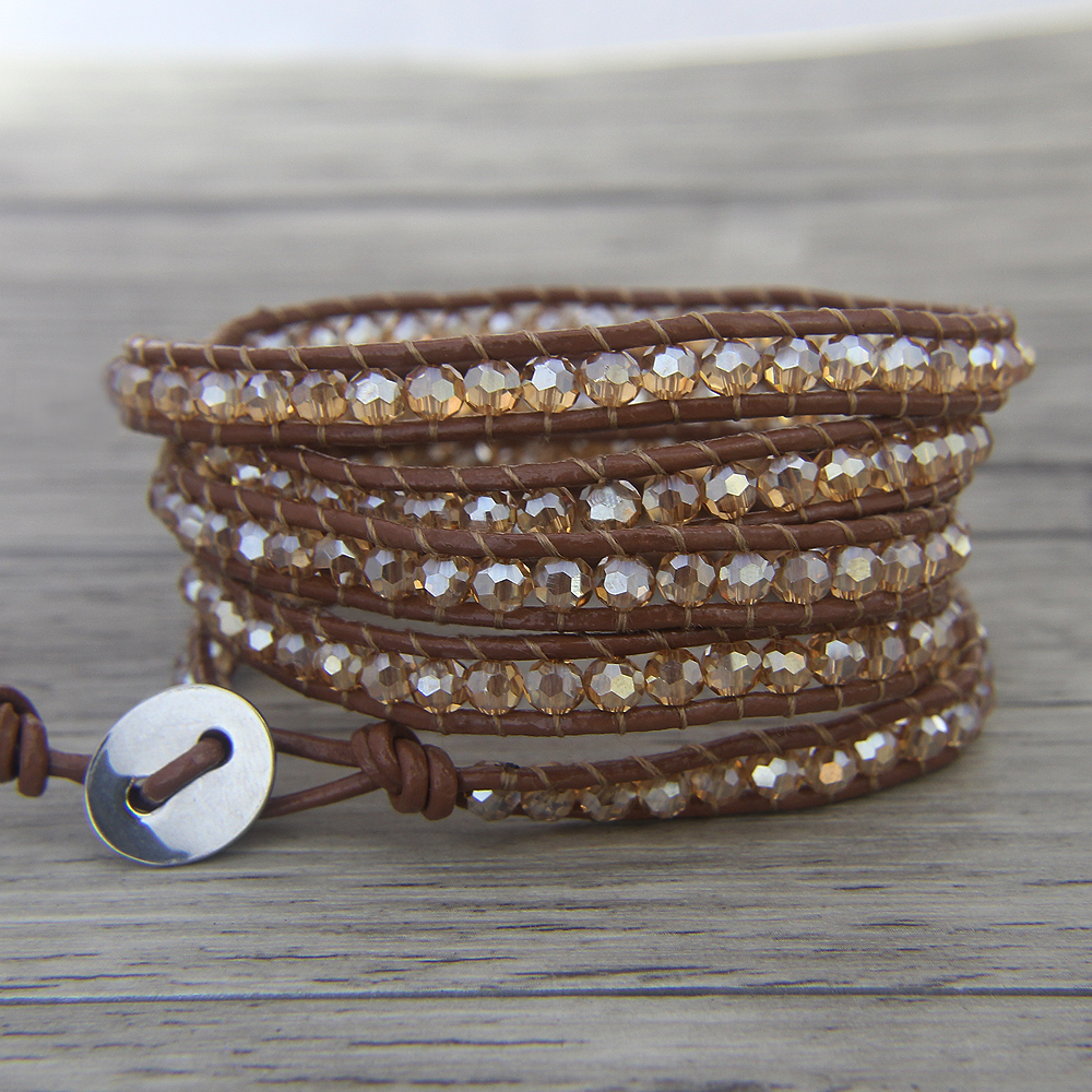 Boho crystal Leather wrap font b bracelet b font font b gold b font glass bead