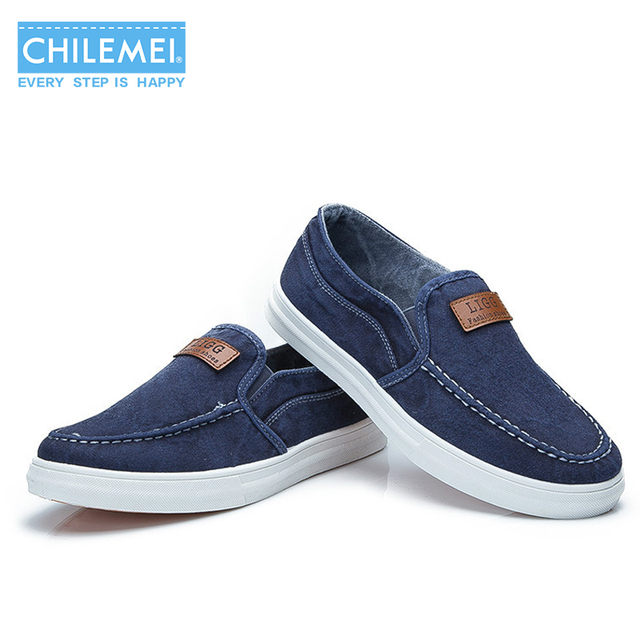 CHILEMEI New Arrival Low Price Mens Loafers High Quality Jeans Canvas  Casual Shoes Mens Fashion Flats Loafers Comfortable Shoes 77fb968d6799