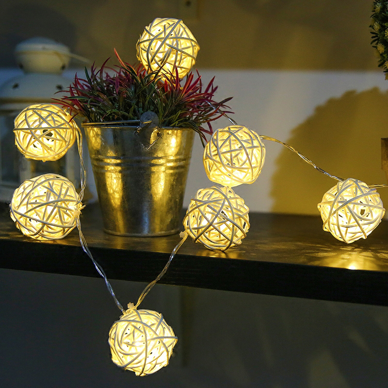 5m 40 Rattan Balls Led String Fairy Lights Luminaria  Outdoor Garland Indoor Home Christmas Wedding Party Decoration Night Lamps5m 40 Rattan Balls Led String Fairy Lights Luminaria  Outdoor Garland Indoor Home Christmas Wedding Party Decoration Night Lamps