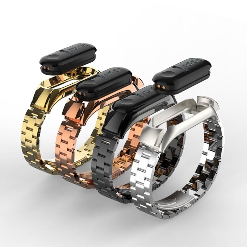 Hangrui Metal Strap For Mi Band 4 3 Bracelet Stainless Steel Wristband For Xiaomi Mi Band 4 Wrist Strap Miband 4 Smart Watch
