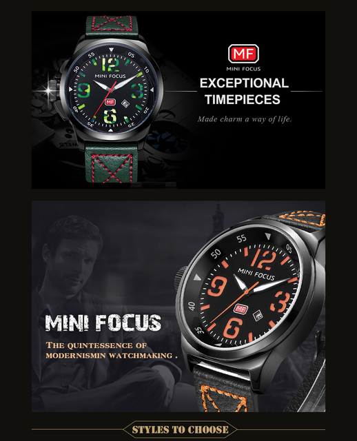 MINI FOCUS Men Watches Top Brand Luxury Quartz Watch Green Genuine Leather Strap Calendar Arabic Number Left-handed montre homme 1