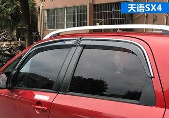 Araba pencere yağmur visor suzuki sx4, Krom tipi, yeni kalın sürümü, suzuki logosu, 4 adet