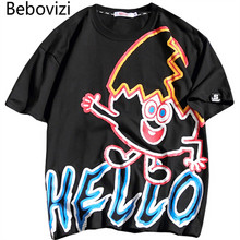 Bebovizi Men Graffiti T-Shirt Hip Hop Clothes Summer Casual Short Sleeve Streetwear Top Tees Oversized Cotton Funny T Shirt 2019 все цены