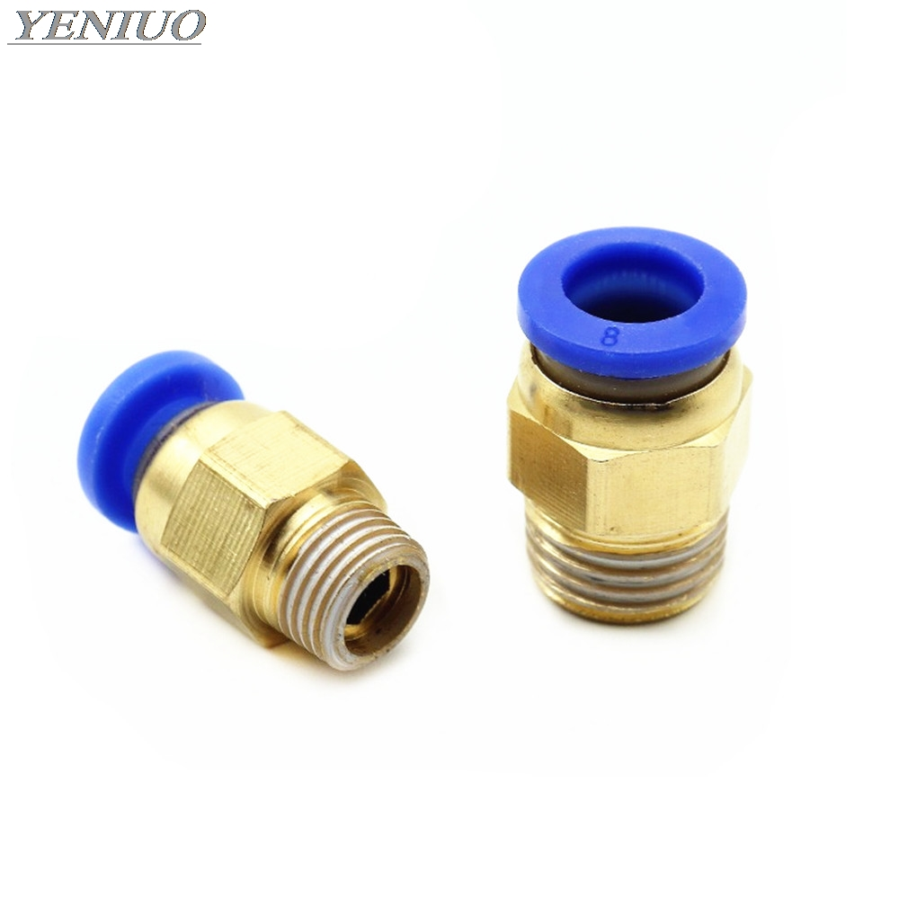 "PC"" Straight Push in Fitting Pneumatic Push to Connect Air 4-12mm OD Hose Tube 1/8"" 1/4"" 3/8"" 1/2""BSP Male Thread Connector"