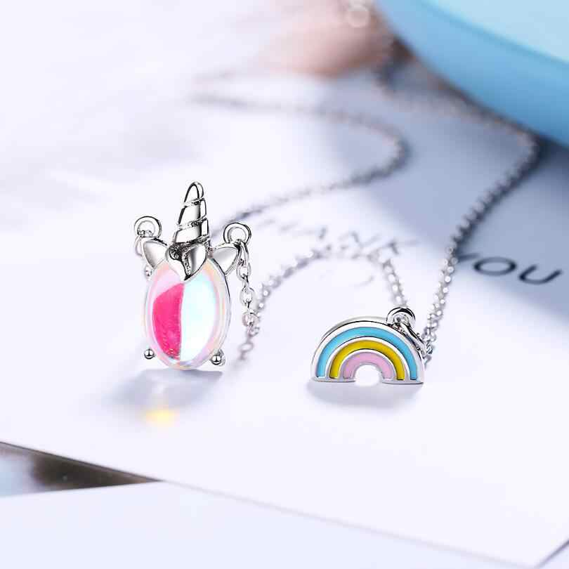 Rainbow Unicorn สีสัน Moonstone จี้สร้อยคอผู้หญิงแนวโน้มสั้น Clavicle CHAIN 925 เครื่องประดับ SAN90