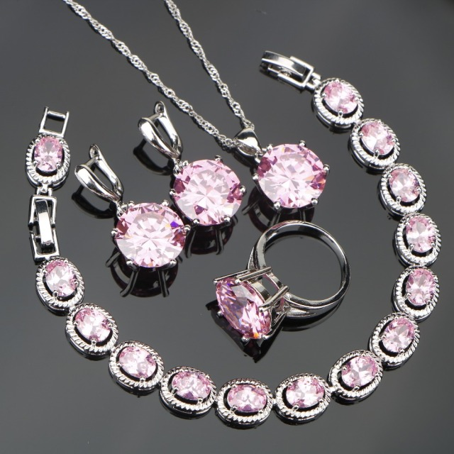 Lovely Pink Stones Silver 925 Costume Jewelry Sets For Women Set Of Earrings Rings