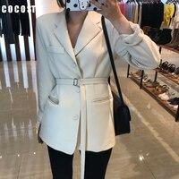 2019 autumn office lady blazer slim suit chic waist OL long black suit jacket female white blazer ukraine blazers women formal