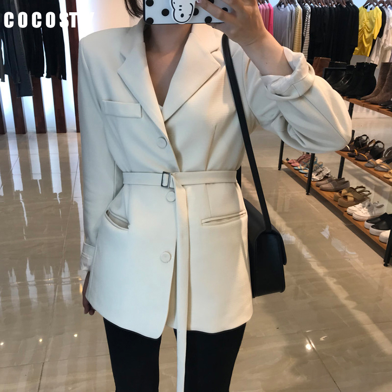 2019 Autumn Office Lady Blazer Slim Suit Chic Waist OL Long Black Suit Jacket Female White Blazer Ukraine Blazers Women Formal
