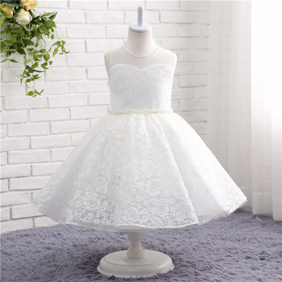 Lace Appliques Beaded   Flower     Girl     Dresses   Kids Gowns For Wedding First Communion   Dresses   vestido comunion Wedding party   dress