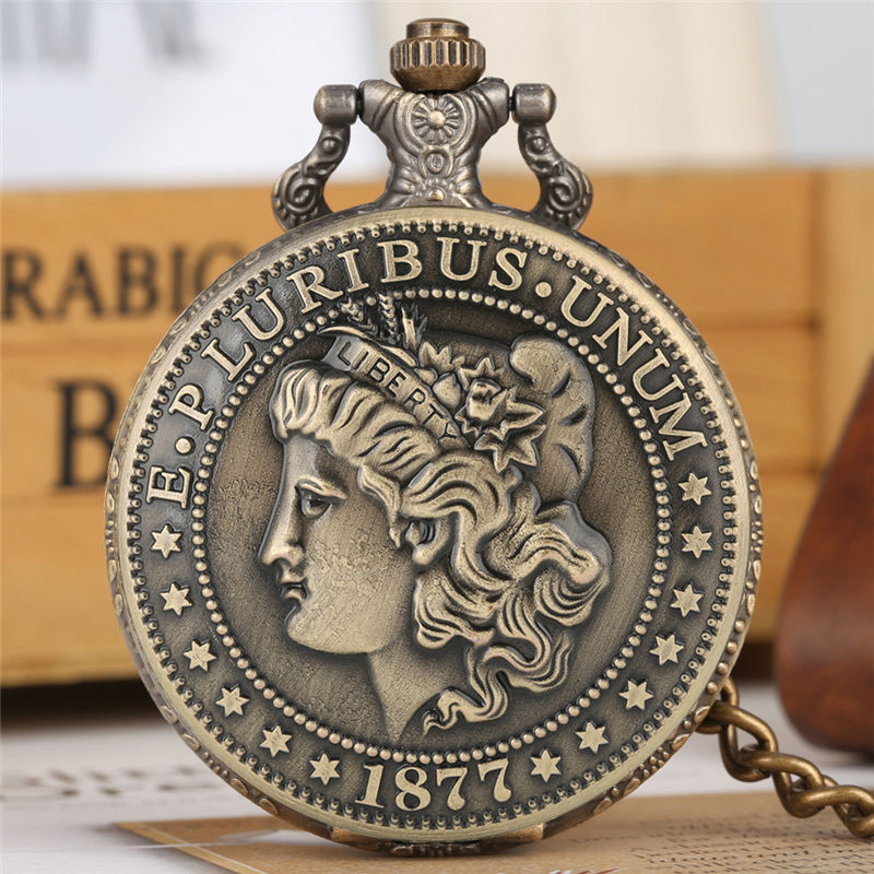 Quartz Pocket Watch Thick Chain Retro Bronze Pendant Watches American Coin Morgan Half Dollar Zakhorloge COIN  Collection Gift